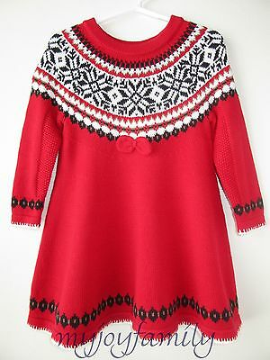 HANNA ANDERSSON Swedish Sno Happy Fair Isle Twirl Sweater Dress Red 90 3T 3 NWT
