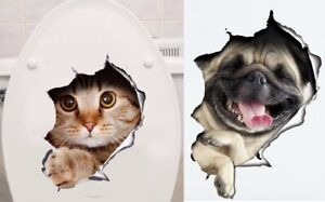 Katze-Hund-Wandsticker-Wc-Toilette-Wandaufkleber-Klo-Aufkleber-Sticker-Folie