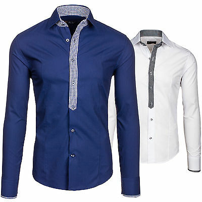 BOLF 0939 Herren Hemd Langarm Polo Casual Style Slim Fit Freizeithemd 2B2 Shirt