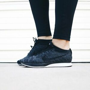c47f11df25a8a MENS 8.5 WOMENS 10 NIKE FLYKNIT RACER NIKELAB SHOES BLACK KNIT BY ...
