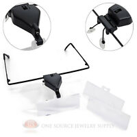 Led Illuminated Head Magnifier Glasses Set Acrylic Lenses Magnifying Tool
