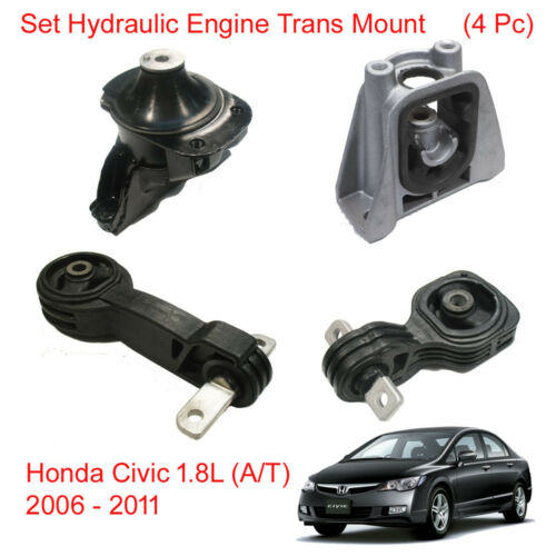 Set Hydraulic Engine Motor Trans Mount For Honda Civic 1.8L AT 2006 2011