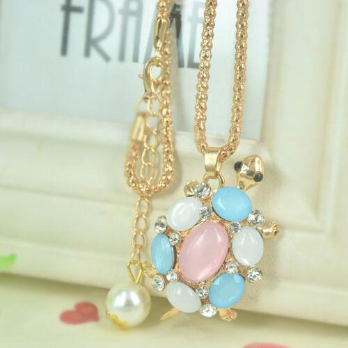 Imitation Opale Tortue Perles Collier Long Femmes Strass Cristal Pendentif Cadeau