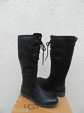 UGG ELSA BLACK BOMBER WATERPROOF LEATHER DUCK/ SNOW BOOTS, US 8/ EUR 39 ~NEW