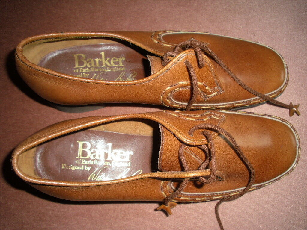 BARKER, EARLS BARTON ENGLAND, LEATHER CHESTNUT, HAND STITCHED Schuhe, SIZE 6.5