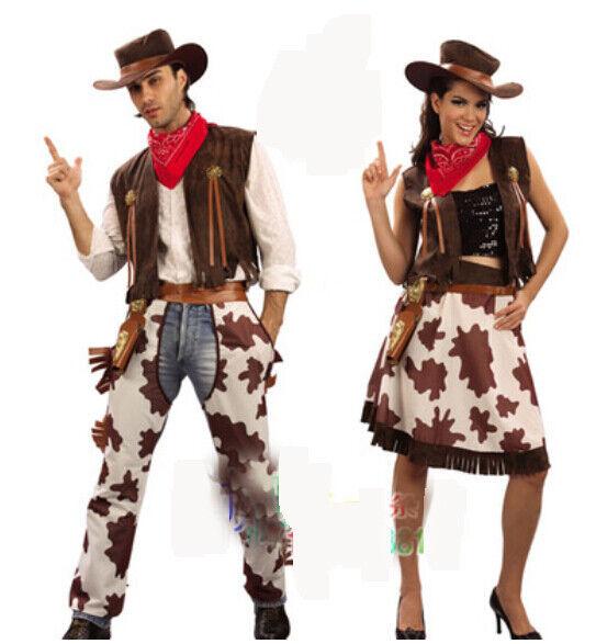 Adult Halloween Performances Men & Womens Cowboy Costume Couples Costumes Suit