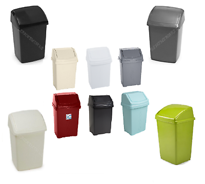 PLASTIC 50L 30L 10L SWING BINS BLACK COLOR WASTE DUST RUBBISH BIN OFFICE HOME