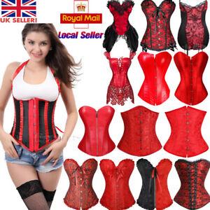 5ea2e7e07a Image is loading Women-Red-Bustier-Corset-Burlesque-Shaper-Basque-Lingerie-