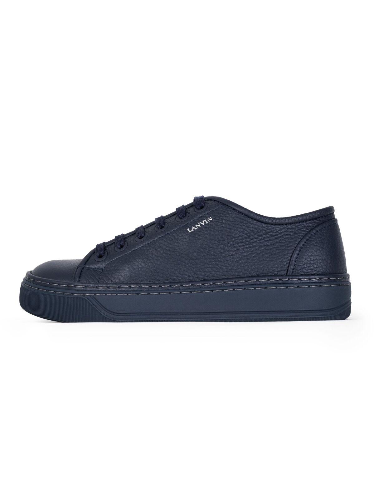 Lanvin bluee Grained Bull Calfskin Low Sneaker