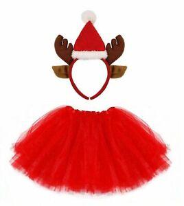 LADIES REINDEER SANTA HAT TUTU SKIRT COSTUME CHRISTMAS DRESS XMAS PARTY OUTFIT