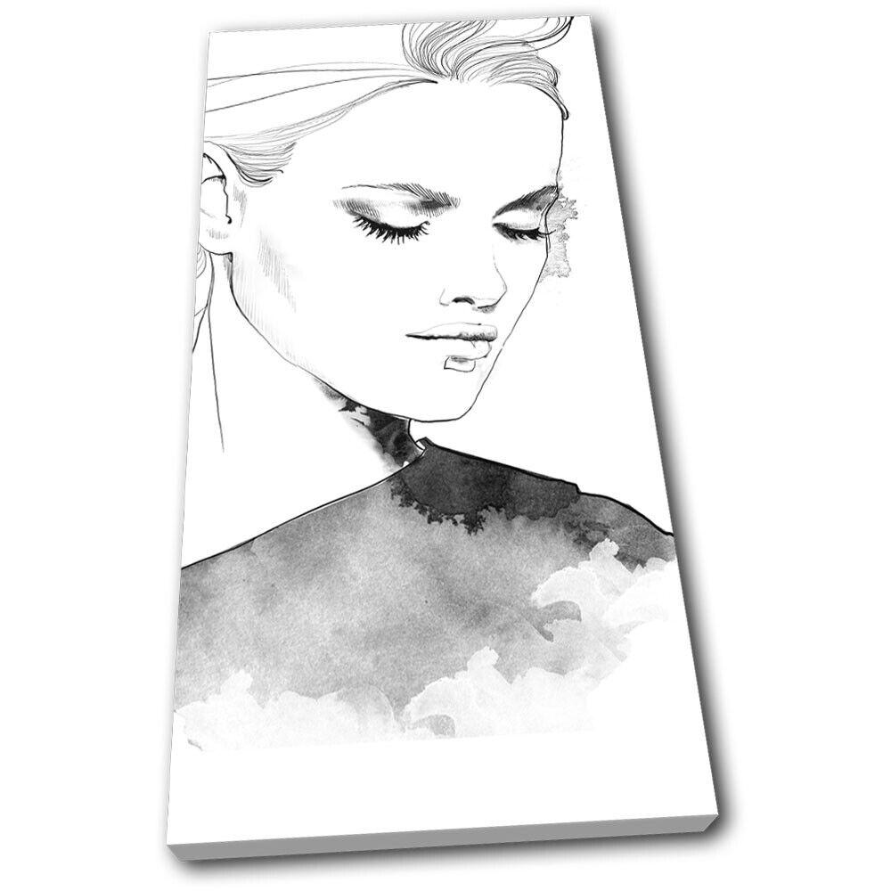 Portrait of Woman Sketch Illustration SINGLE TOILE murale ART Photo Print