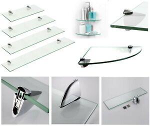 CLEAR-GLASS-WALL-MOUNTED-SHELVE-SHELF-RACK-KITCHEN-HOME-OFFICE-BATHROOM-BOOKCASE