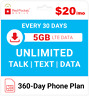 $20/Mo Red Pocket Prepaid Wireless Phone Plan: Unlmtd Everything 5GB LTE