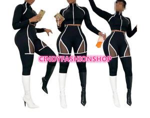 Women-Mesh-Patchwork-Striped-Set-Casual-Long-Sleeve-Crop-Top-Pants-Tracksuit-J8