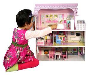 large children 39 s wooden pink dollhouse fits barbie doll. Black Bedroom Furniture Sets. Home Design Ideas