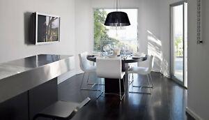 Detalles de Lámpara Colgante Ø45cm 3x60W E27 Pantalla de Tela Negro Cristal  Mesa Comedor