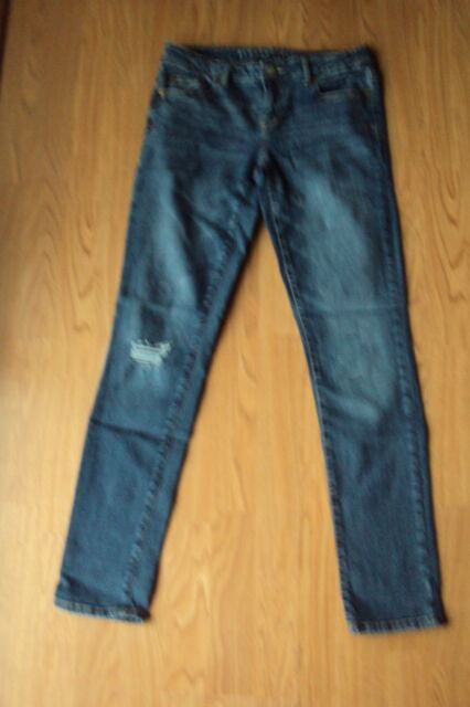 2758d61a613 Womens Aeropostale Skinny Stretch Dark Wash Distressed Denim Jeans Size 6  Reg