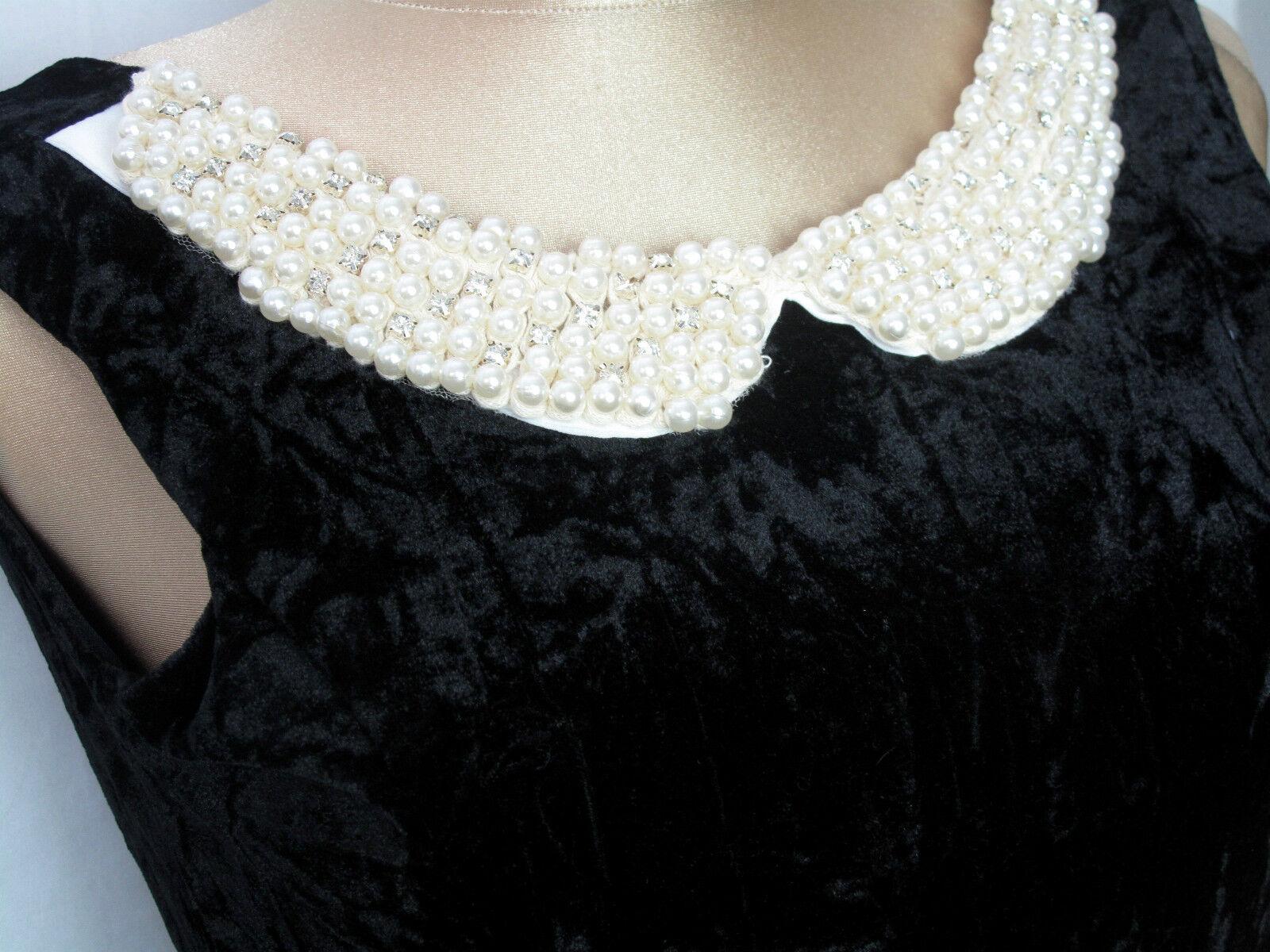 Sexy Gothic Samtkleid V-ausschnitt  Perlendekor ärmellos Reißverschluss Spitze