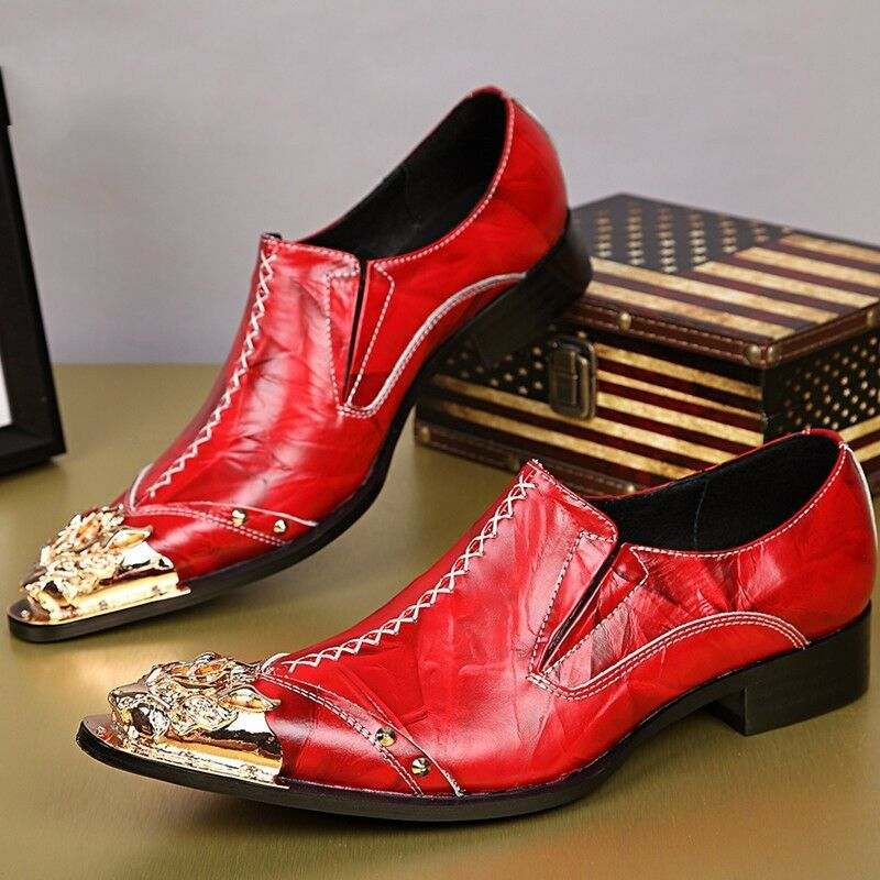 Uomo Autumn Metal Pointed Toe Pelle Slip On Dress Dress Dress Formal Nightclub Shoes d66757
