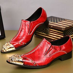 Mens Autumn Metal Pointed Toe Leather Slip On Dress Formal Nightclub Shoes Red