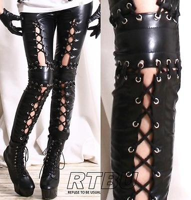 Punk Armor Corset Laceup Vegan Leather Low Rise Zip Black Ankle Pants Legging