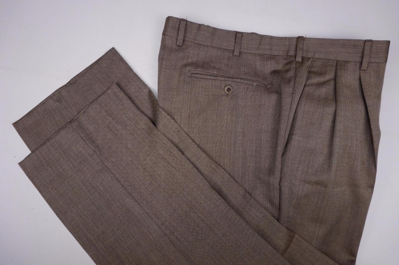 ZANELLA Bennett  Wool Lined Pleated Dress Pants  Brown Mens 38x29