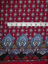 "Burgundy & Blue Border Print Paisley Viscose Fabric 56"" Wide Soft & Drapey"