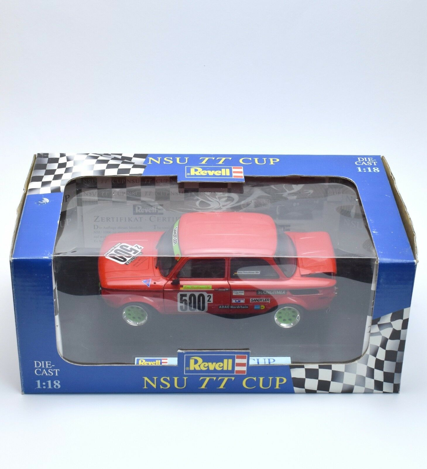 REVELL 08457 NSU 1000 Prinz TT CUP H. viande HAUER, certificat, 1 18, NEUF dans sa boîte, k033