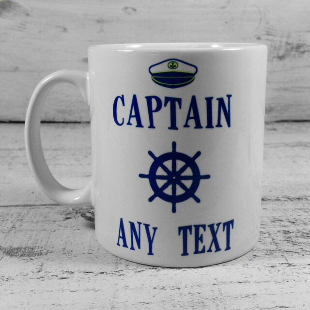 513ef807763 CAPTAIN MUG CUP PRESENT PERSONALISED WITH NAME NARROWBOAT CANAL BOAT SHIP  BARGE