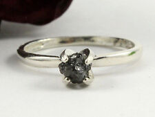 0.61+ CT NATURAL OPAQUE BLACK ROW ROUGH DIAMOND 925 SILVER ENGAGEMENT RING ^734