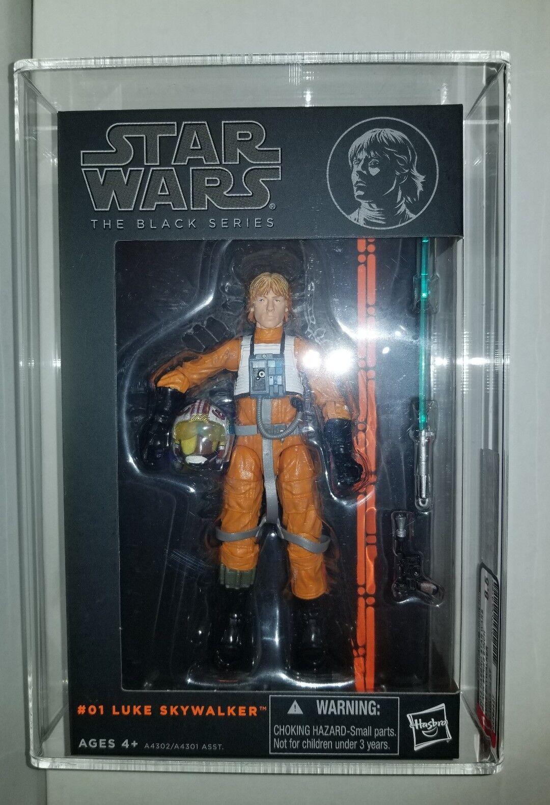 Star Wars negro Series X-Wing Luke (Hasbro, 2013) autoridad Figura de Acción 8.5 Uncirculated