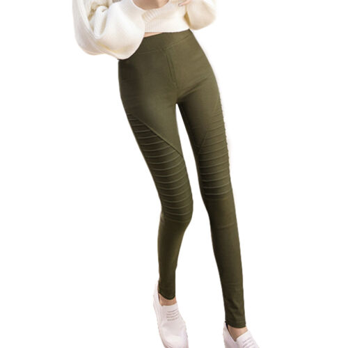 Women Ladies Full Length Stretchy  Striped Leggings Pants High Waisted Trousers