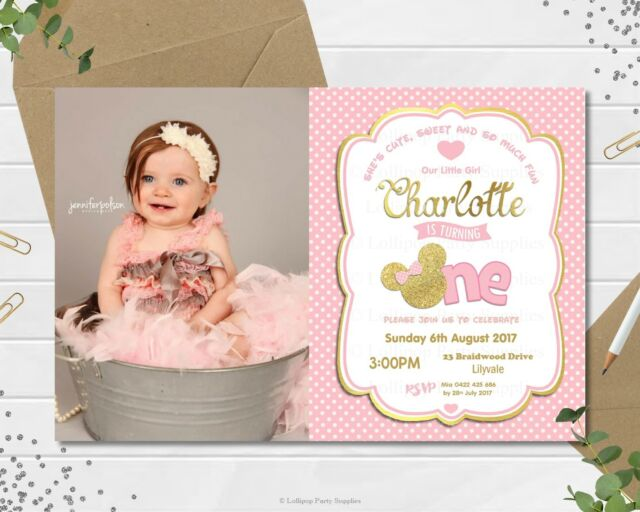 minnie mouse first 1st birthday personalised invitations invite pink