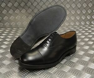 Genuine British Mens Black Leather RAF Parade Shoes with Toe Cap Formal Footwear