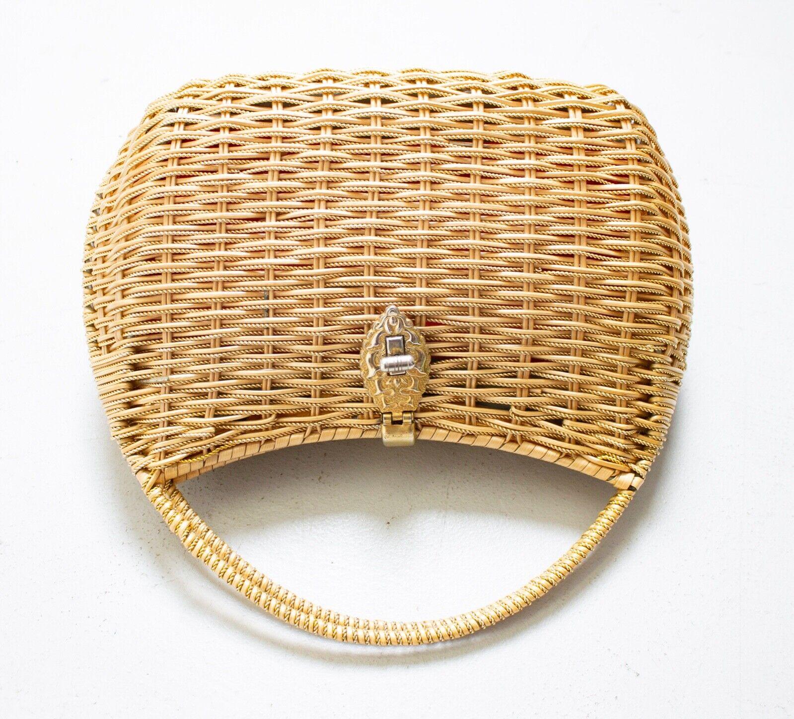 Vintage Basket Purse 1960s Gold Metal Woven Wicke… - image 5