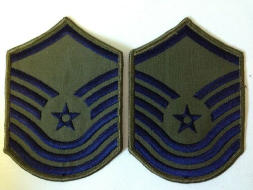 2 Patches Military GI Issue Air Force USAF SMSgt E-8 /& MSgt E-7 Insignia 1986-92