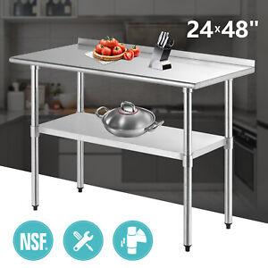 "Details about  /24/"" x 48/"" Stainless Steel Work Prep Table with Backsplash Kitchen Restaurant New"