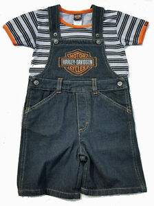 099b1646b Image is loading Harley-Davidson-Toddler-Boy-Logo-Denim-Overalls-Shorts-