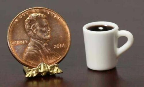 Dollhouse Miniature White Coffee Mug with Coffee by Miniatures World