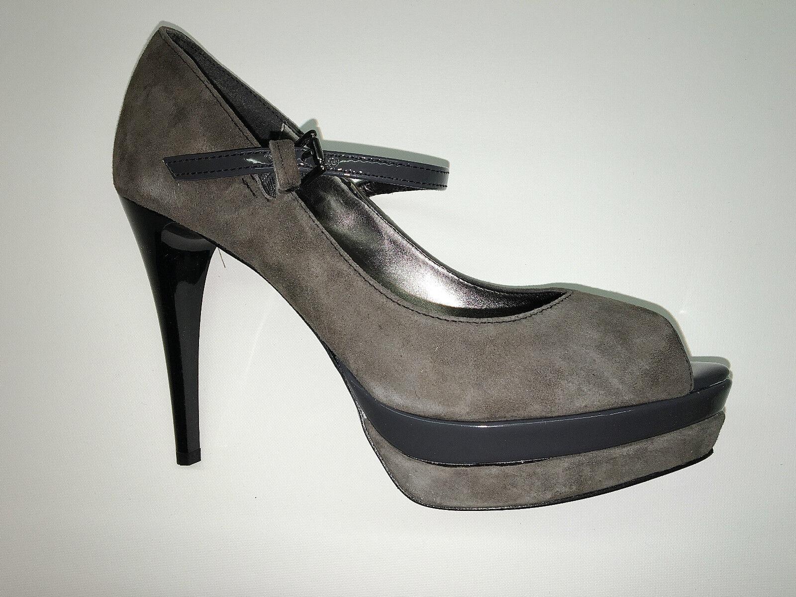 Designer Pumps PeepToes HIgh Heels von Ashley Brooke Grau Gr. 38