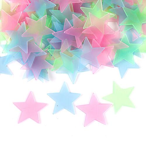 100Pcs 3D stars glow in dark luminous fluorescent plastic wall sticker home HC