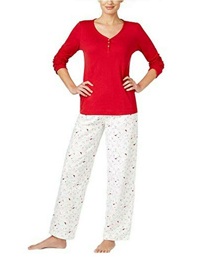 Charter Club Red Cardinal Henley Top 2-Piece Pajama Set Women's Plus Size 3X
