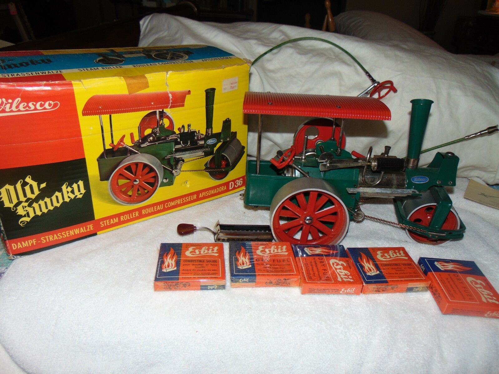 Vintage Wilesco West Germany Metal Live Steam Engine Roller Old Smoky D 36 W Box