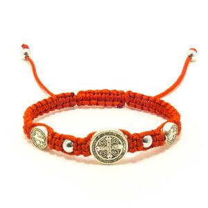 Red-Saint-St-Benedict-Medal-Trinity-Bracelet-Pulsera-Roja-De-San-Benito