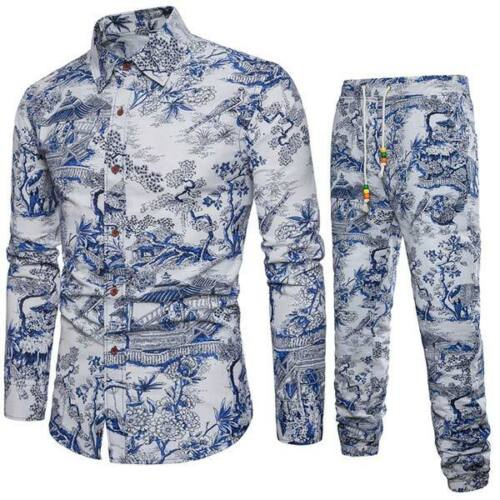 Homme De Luxe Floral Formel Tops à manches longues Casual T-Shirt Coupe Slim Robes
