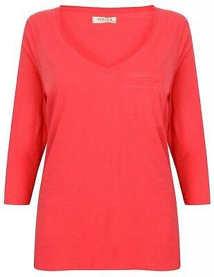 Ladies Pure Cotton Top Watermelon 3 Quarter Sleeve Pink New Womens Indigo Range