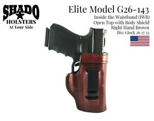 SHADO Leather Holster Elite Model G26-143 RH Brown IWB fits Glock 26 27 33 Brand