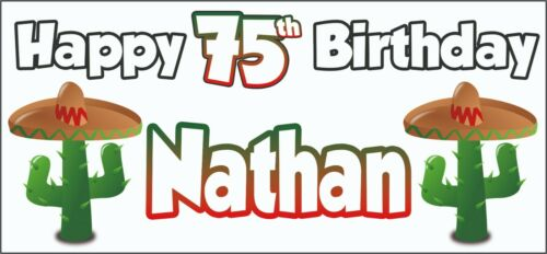 Party Decorations Personalised ANY NAME Mexican Cactus 75th Birthday Banner x2
