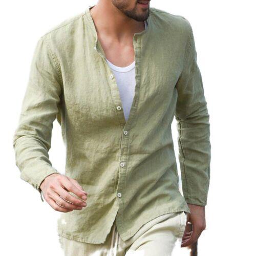 Mens Long Sleeve Collar Casual Shirt Linen Flax Slim Fit Button Dress Shirt Tops