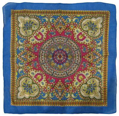 "22/""x22/"" Ornate Paisley Mosaic Multi Color Blue 100/% Cotton Bandana Bandanna"